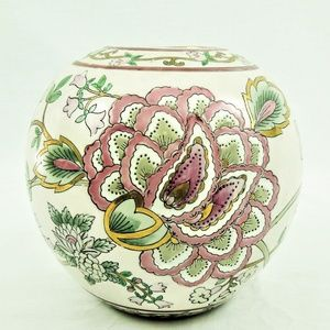 Vintage Ceramic Vase Hand Painted White Floral